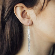 Load image into Gallery viewer, Handmade Silver Feather Drop Earrings - Pobjoy Diamonds