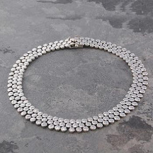 Handmade Three Tier Silver Circles Necklace - Pobjoy Diamonds