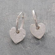 Handmade SIlver Heart Earrings Pobjoy