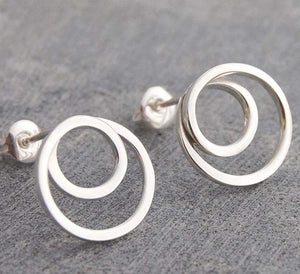 Handmade Silver Hoop Stud Earrings - Pobjoy Diamonds