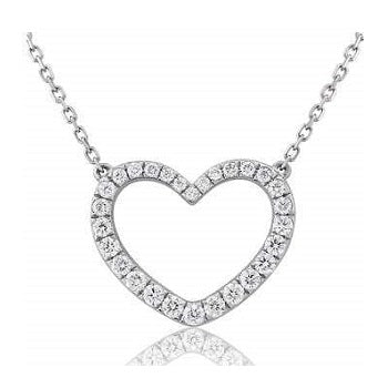 18K White Gold Diamond Heart Silhouette Necklace & Pendant 0.60 CTW - Pobjoy Diamonds