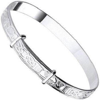 Child's Silver Celtic Embossed Adjustable Bangle - Pobjoy Diamonds