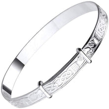 Load image into Gallery viewer, Child's Silver Celtic Embossed Adjustable Bangle - Pobjoy Diamonds