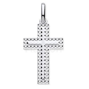 Silver Child's Embossed Cross Pendant & Silver Chain - Pobjoy Diamonds