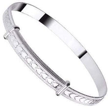 Load image into Gallery viewer, Baby Silver Expandable Heart Pattern Bangle - Pobjoy Diamonds