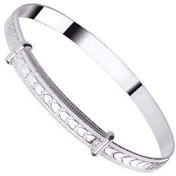 Baby Silver Expandable Heart Pattern Bangle