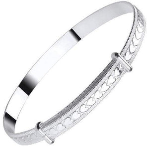 Baby Silver Expandable Heart Pattern Bangle - Pobjoy Diamonds
