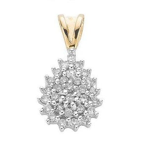 9K Yellow Gold Cluster Diamond Pendant - Pobjoy Diamonds