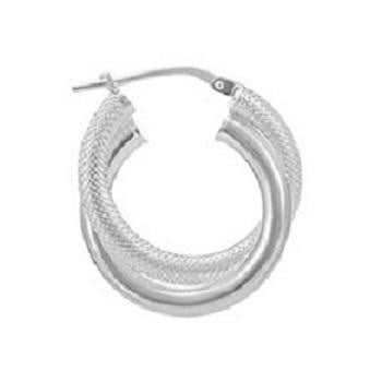 Sterling Silver Creole Crossover Hoop Earrings - Pobjoy Diamonds