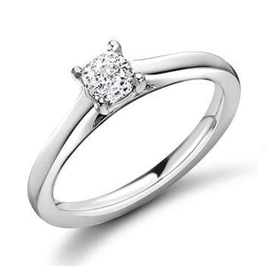 950 Platinum 0.40 Carat Cushion Solitaire Diamond Engagement Ring F/VS2 - Valencia - Pobjoy Diamonds