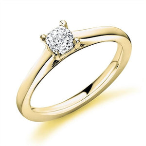 18K Yellow Gold 0.40 Carat Cushion Solitaire Diamond Engagement Ring F/VS2 - Valencia - Pobjoy Diamonds