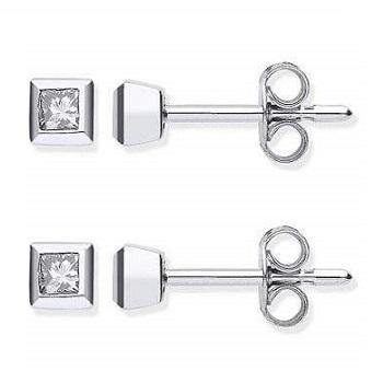 18K White Gold Princess Cut Diamond Stud Earrings 0.20 CTW - Pobjoy Diamonds