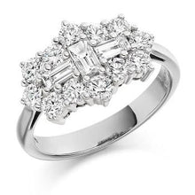 Load image into Gallery viewer, COMING SOON! Round Brilliant Cut & Baguette Cluster Diamond Ring-Pobjoy Diamonds