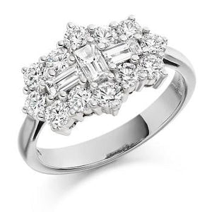 COMING SOON! Round Brilliant Cut & Baguette Cluster Diamond Ring-Pobjoy Diamonds