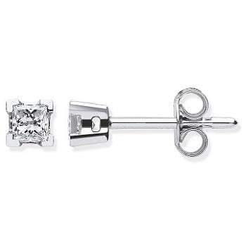 18K White Gold Gents Princess Cut Diamond Stud Earring 0.15 Carat - Pobjoy Diamonds