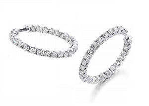950 Palladium & Claw Set 1.00 CTW Diamond Hoop Earrings-Pobjoy Diamonds