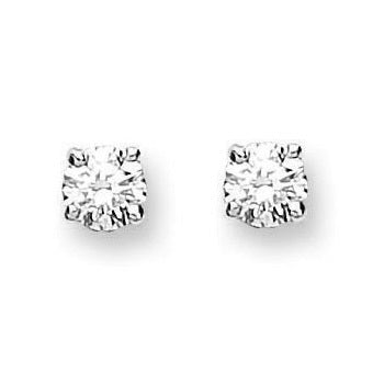18K White/Yellow Gold 0.25 Carat Solitaire Diamond Stud Earrings H/Si1