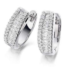 Load image into Gallery viewer, 18K and 1.5 CTW round and princess cut diamond hug earrings Pobjoy Diamonds Surrey