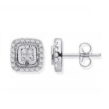 9K White Gold Gents Diamond Milled Bezel Earring 0.16 CTW