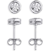 Load image into Gallery viewer, 9K White Gold Gents Round Cut Diamond Stud Earring 0.08 Carat - Pobjoy Diamonds