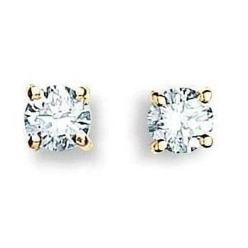 9K Yellow Gold 0.25 Carat Solitaire Diamond Stud Earrings H/Si1