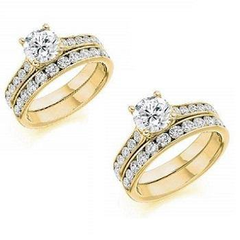 18K Gold Diamond Eternity & Solitaire/Shoulders Engagement Ring Combination SPECIAL OFFER