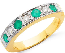 Load image into Gallery viewer, 18K Yellow Gold Emerald & Diamond Ring - Pobjoy Diamonds