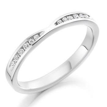 18K White Gold 0.18 CTW Curved Half Eternity Ring - Pobjoy Diamonds