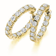 Load image into Gallery viewer, 18K Yellow Gold & Claw Set 2.75 CTW Diamond Hoop Earrings - Pobjoy Diamonds