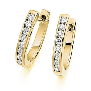 18K Gold Round Brilliant Cut Channel 0.33 CTW Diamond Earrings - F-G/VS - Pobjoy Diamonds