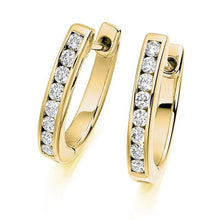 Load image into Gallery viewer, 18K Gold Brilliant Round Cut Channel 0.55 CTW Diamond Earrings