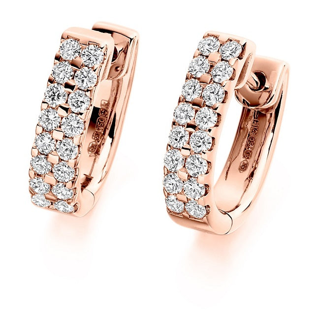 18K Gold Round Brilliant Cut Twin Row Diamond Earrings 0.66 CTW - F-G/VS