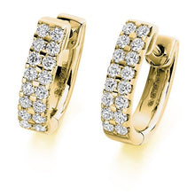 Load image into Gallery viewer, 18K Gold Round Brilliant Cut Twin Row Diamond Earrings 0.66 CTW - F-G/VS