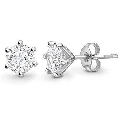 Bespoke 950 Platinum Round Brilliant Cut Diamond Stud Earrings 0.60 To 1.00 CTW- E/VVS1 - Pobjoy Diamonds