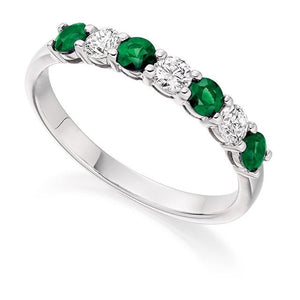 18K White Gold Emerald & Diamond Half Eternity Ring 0.60 CTW
