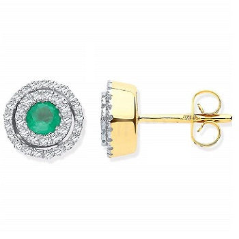 9K Yellow Gold Double Halo Diamond & Emerald Earrings By Pobjoy