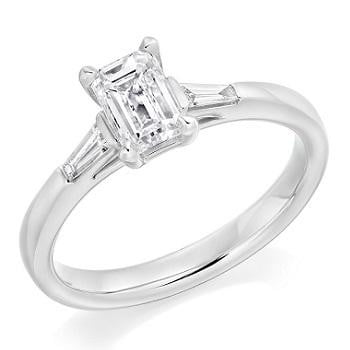 18K White Gold Emerald Cut Solitaire Ring With Side Baguettes 0.90 CTW- G/Si1 - Pobjoy Diamonds
