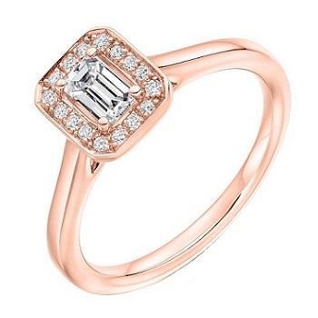18K Rose Gold Emerald Cut Diamond & Halo Engagement Ring 0.45 CTW - Vipiteno