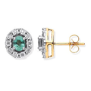9K Yellow Gold Oval Emerald & Diamond Stud Earrings