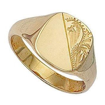 Gents 9K Yellow Gold Engraved Signet Ring - Pobjoy Diamonds