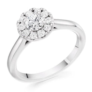 18K Gold Round Brilliant Cut Halo 0.65 CTW Diamond Ring -Estella G-H/Si - Pobjoy Diamonds