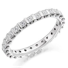 Load image into Gallery viewer, 18K White Gold Full Eternity Ring Princess Cut 1.00 CTW - Pobjoy Diamonds