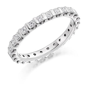 18K White Gold Full Eternity Ring Princess Cut 1.00 CTW - Pobjoy Diamonds