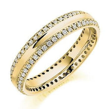 Load image into Gallery viewer, 18K Yellow Gold Twin Diamond Row Full Eternity Ring 0.50 CTW - Pobjoy Diamonds
