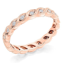 Load image into Gallery viewer, 18K Rose Gold Full Eternity Milgrain Edge Diamond Ring 0.35 CTW - Pobjoy Diamonds