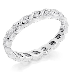 18K White Gold Full Eternity Milgrain Edge Diamond Ring 0.35 CTW - Pobjoy Diamonds