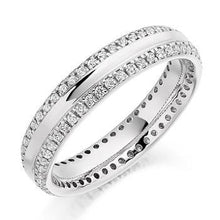 Load image into Gallery viewer, 950 Platinum Twin Diamond Row Full Eternity Ring 0.50 CTW - Pobjoy Diamonds