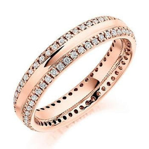 18K Rose Gold Twin Diamond Row Full Eternity Ring 0.50 CTW - Pobjoy Diamonds