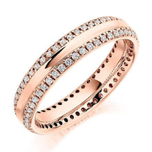Load image into Gallery viewer, 18K Rose Gold Twin Diamond Row Full Eternity Ring 0.50 CTW - Pobjoy Diamonds