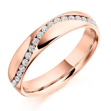 Load image into Gallery viewer, 18K Rose Gold Half Eternity Offset Ring 0.30 CTW - Pobjoy Diamonds